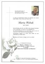 Maria Wobak, gestorben am 29.06.2020