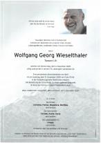 Wolfgang Georg Wieselthaler, gestorben am 03.12.2020