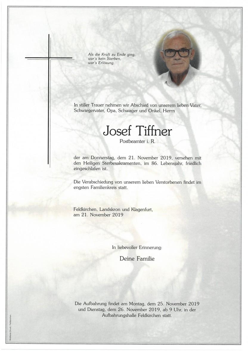 Josef Tiffner, Postbeamter i.R., gestorben am 21.11.2019