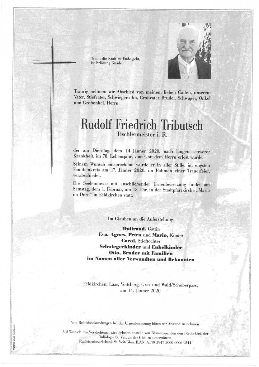 Rudolf Tributsch, gestorben am 14.01.2020
