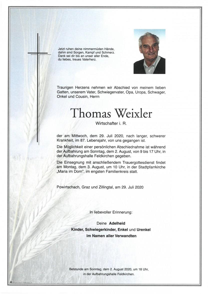 Thomas Weixler, gestorben am 29.07.2020