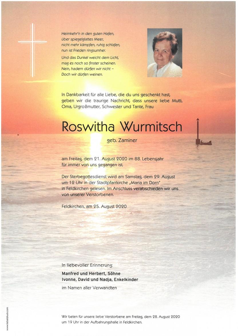 Roswitha Wurmitsch, gestorben am 21.08.2020
